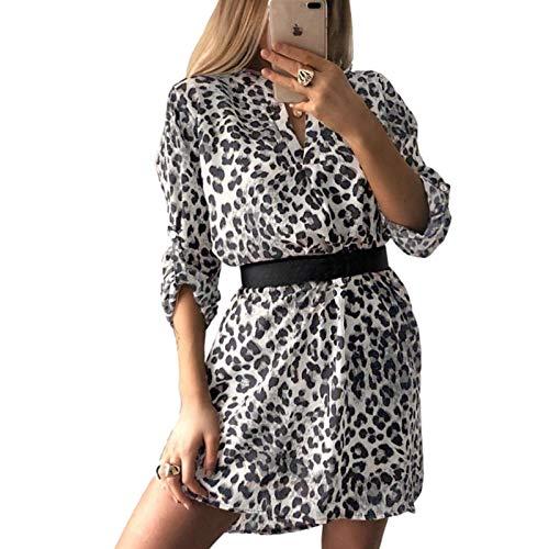 Vestido camisero para mujer, estampado de leopardo, cuello en V, retro, suelto, estampado, top, estampado de...