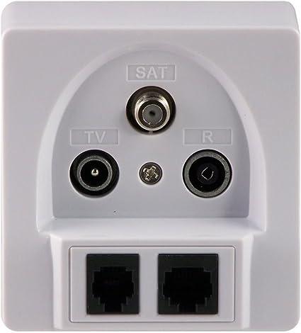 Transmedia FD11SETL - Enchufe de Antena para Dispositivos Multimedia (Conectores para TV, Radio y satélite, Conectores RJ45 y RJ11, con Tapa), Color ...