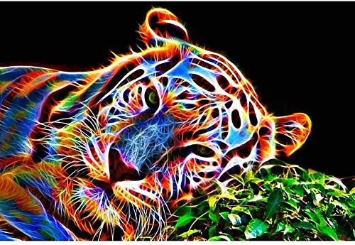 RYJDDP 5D DIY Diamond Painting Full Drill Kit Tiger Pre-Printed Paint by Number Painting Set for Home Wall Decoration Animal Tiger-40x50cm (16x20 Pulgadas