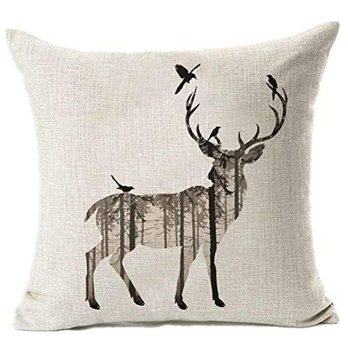 2 PCS Simple Deer Pillow Case Sofa Bed Home Decor Cushion Cover 45x45cm