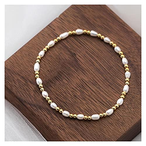 YYYSHOPP Joyería Pulseras 925 Plata esterlina Perlas de Oro Perlas de Perlas Naturales Pulsera para Mujeres joyería de Moda de Boda Esposas