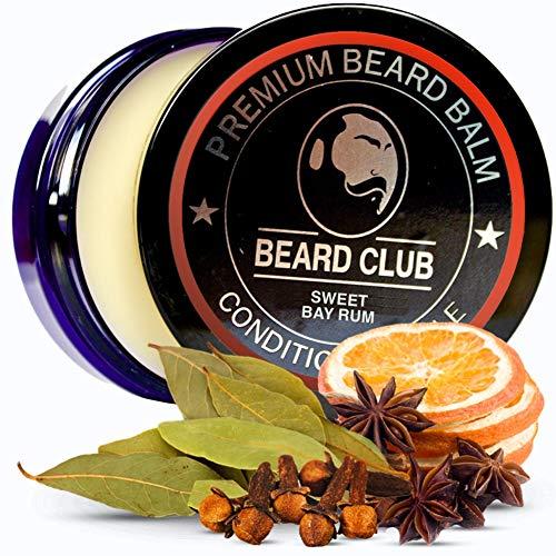 Bálsamo Barba Premium | Sweet Bay Rum | Beard Club | Los Mejores Barba de Loción Suavizante| Naturales y Orgánicos | Excelente Para el Cuidado del Cabello y el Crecimiento