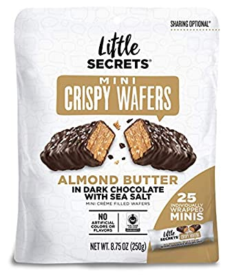 Little Secrets Dark Chocolate, Almond Butter & Sea Salt Crispy Mini Wafers | No Artificial Flavors, Corn Syrup or Hydrogenated Oils | Fair Trade Certified & All Natural | 25ct Individually Wrapped