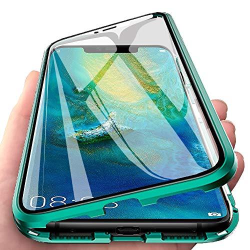 Eabhulie Huawei Mate 20 Pro Funda, Metal Bumper con Adsorción Magnética + 360 Grados Vidrio Templado Cobertura de Pantalla Completa Carcasa para Huawei Mate 20 Pro Verde