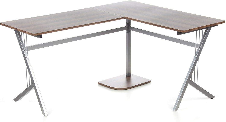 Hjh OFFICE 673460 Eckschreibtisch POLLUX walnuss silber, ideal für Home Office und Büro, robuste langlebige Arbeitsflche, ein breiter Computertisch, Schreibtisch, Büroschreibtisch, Winkelschreibtisch