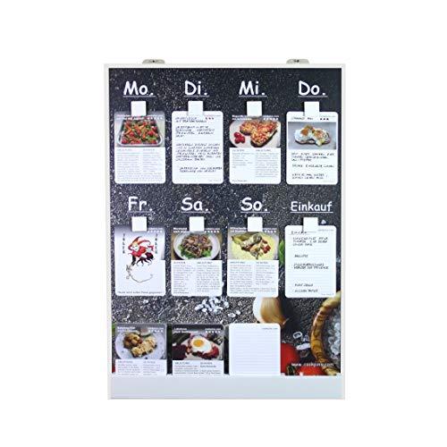 Speiseplan CookPins D2 mit 200 Rezeptkarten, wandhängend, Essensplaner, Menütafel, Kochkarten, Kochrezepte, Rezepttafel, Kochtafel, Familienkochbuch, Dekoration Küche