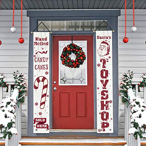 AVOIN Candy Canes Santa Toy Shop Porch Sign, Winter Holiday Christmas Hanging Banner Flag for Yard Indoor Outdoor Party 12 x 72 Inch