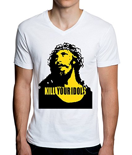 MaikesTic Kill Your Idols Jesus Design Men 's V-Neck–Camiseta Hombre