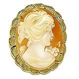 Alfiler colgante oro 18k camafeo 42mm. rostro mujer fondo naranja cierre seguridad