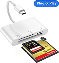 SD Card Reader, RayCue 3 in 1 USB Type C to SD/Micro SD/CF Card Reader, USB C CompactFlash Card Trail Game Camera Card Reader for New iPad Pro 11