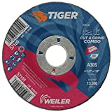 Weiler 57101 4-1/2' x 1/8' Tiger Type 27 Cut and Grind Combo Wheel, A30S, 7/8' A.H. (Pack of 25)