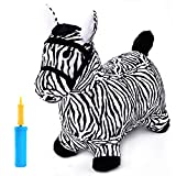 iPlay, iLearn Zebra Bouncy Animal, Hopping Horse, Inflatable Hopper, Indoor Outdoors Kindergarten Ride On Toy, Birthday Activities Gift for 3, 4, 5 Year Old Kids Preschool Toddlers Boys Girls