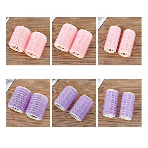 EPRHAN 12Pcs/Set Plastic Hair Rollers, Salon Hairdressing Curlers, Bangs Self-Adhesive Hair Curling Styling Tools, Large Medium Small Hair Rollers (Pink+Purple)