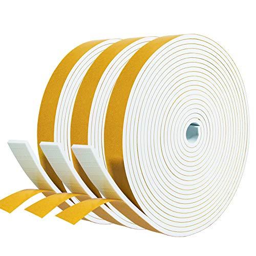 Moosgummi 3mm selbstklebend Dichtungsband 20mm(B) x3mm(D) für Türen Schaumstoffband Türdichtung Gummidichtung für Kollision Siegel Schalldämmung Gesamtlänge 15m (3 Rollen je 5m lang) Weiß