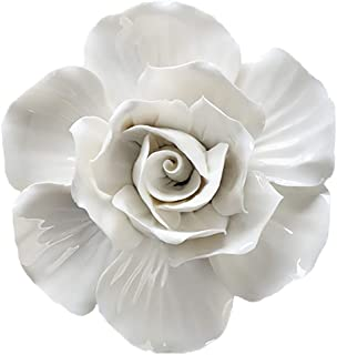 ALYCASO 3D Rose Wall Flower Decoration for Living Room Bedroom Hanging Ceramic Flower Pediments Sculpture, White, 5.51 inch