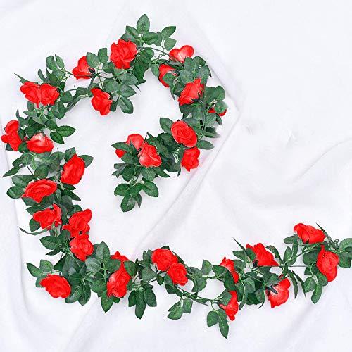 JOLIGAEA 2 Piezas de Rosas Artificiales, Guirnalda de Flores de Vid de Rosa Falsa de 220cm Artificiales Flores para Colgar en la decoración del Arco de la Oficina en casa de la Boda (Rojo)