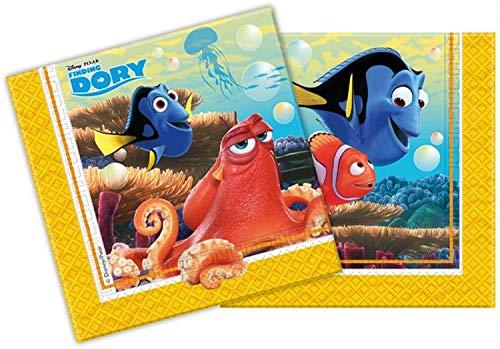 Procos 86650 – Servietten Papier Finding Dory (Findet Nemo), 20 Stück, blau/gelb