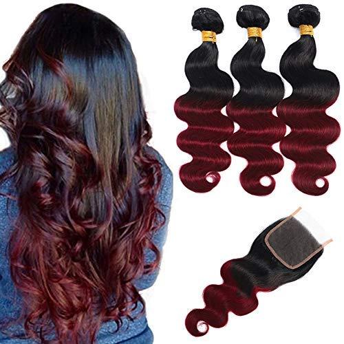 Ombre Brazilian Hair Body Wave Bundles with Closure,Ombre Brazilian Virgin Hair Human Hair Weave Two Tone Black to Burgundy (T1B/99J,12 14 16+12)