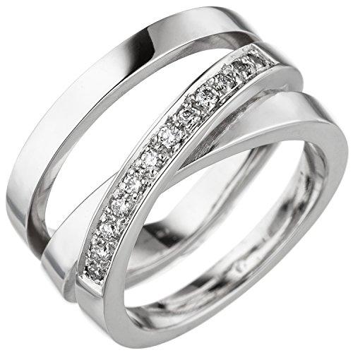 JOBO Damen Ring verschlungen 585 Gold Weißgold 12 Diamanten Brillanten Diamantring Größe 58