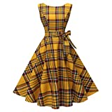 Hanpceirs Women's Boatneck Sleeveless Swing Vintage 1950s Cocktail Dress Goldplaid L