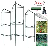 4ft 3-Pack Plant Cages Tomato Garden Cages Stakes Vegetable Trellis, Assembled w/ 4Pcs A-Clips Fork, for Vertical Climbing Plants,Vegetables, Flowers, Fruits, Vine (4-Feet 3PACK)