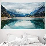 ABAKUHAUS Landschaft Wandteppich und Tagesdecke Alpine Lake Sky Waldaus Weiches Mikrofaser Stoff 230 x 140 cm Schmutz abweichend Blau-grün-grau