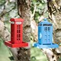 garden mile® Novelty Hanging Wild Bird Feeders for the Garden | Telephone Box and Police Call Box Bird Feeding Station for Bird Seed and Peanuts | Cute Garden Decorations (Both) from Garden Mile®