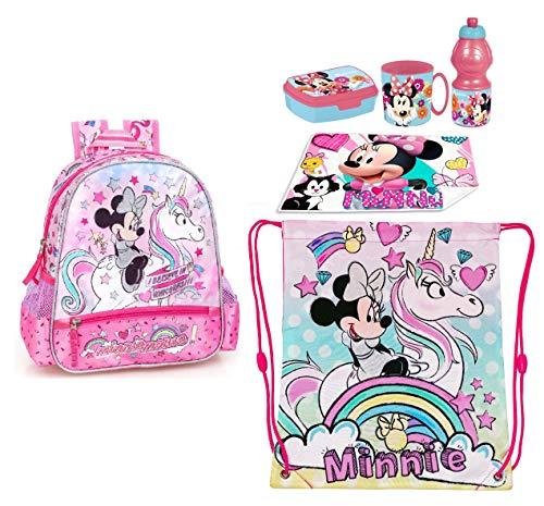 Minnie Mouse e Unicorno Set Zainetto Zaino Satinato,Sacca Sport, Porta Merenda Scuola Asilo Tempo Libero