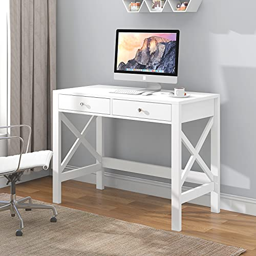 ChooChoo Computer Desk Study for Home Office, Modern Simple 40 Inches White Desk with Drawers, Makeup Vanity Console Table