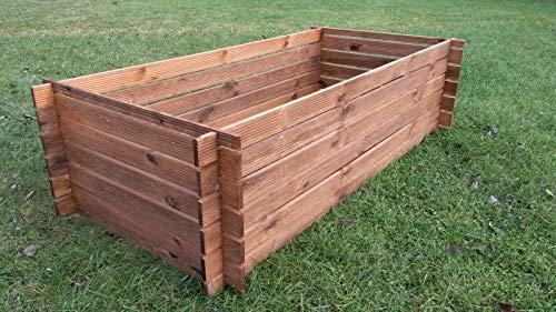 naturholz-shop Stabiler Holzkomposter Kompostbehälter Komposter imprägniert Hochbeet 170 x 85cm Riffel