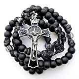 Very Rugged BLACK MONK ROSARY with Gunmetal Crucifix