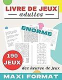Livre de jeux adultes: 190 JEUX   MAXI FORMAT   Mots mêlés   Sudoku   Labyrinthes   Cryptogrammes citations   Trouve les chiffres   cahier d'activités ... de cadeau   Grand format 21,59 x 27,94 cm