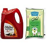 Dhara Kachhi Ghani Mustard Oil Jar, 5L , Mother Dairy Cow Ghee, 1L