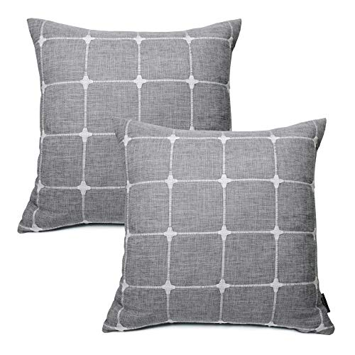 Booque Valley Plaid Pillow Covers 18 x 18 inch, Pack of 2 Soft Polylinen Woven Texture Cushion Covers, Hand Made Check Throw Pillow Cases for Sofa Bed Car Chair(Grey)