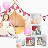4pz / Set Scatole di Palloncini Trasparenti, Baby Shower Box Decorazioni per Feste, per Battesimo Compleanno Festa Decorazione DIY