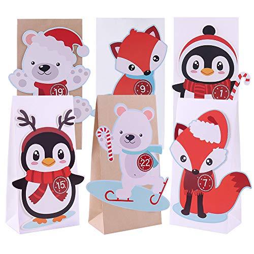 The Spirit Store DIY Adventskalender zum Befüllen für Kinder | Bastel-Set mit Papiertüten Groß zum Selber Basteln und Machen | Geschenktüten Weihnachten, Weihnachtstüten Pinguin, Eisbär, Fuchs