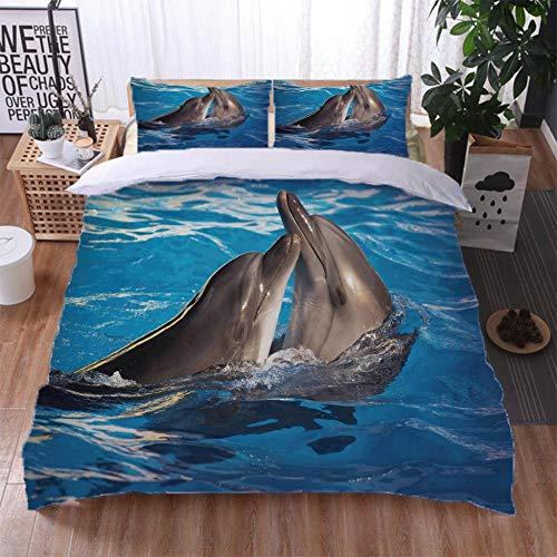 Gzmt Bettwäsche Double 155X220Cm 3 Teilig Mit Bettwäsche Set Bettbezug Mit Reißverschluss Und 2 Kissenbezug 80X80Cm Fit Kinder Jugend,Drucken Muster Delphin,Tier