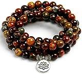 PPQKKYD Halskette Naturstein Runde lose rote Stream Perle Halskette Halskette 108 Gebet Perlen Frau Mann Wickel Handgelenk Om buddhistischen Buddha