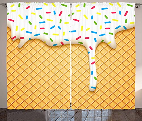 """Ambesonne Food Curtains, Cartoon Like Image of and Melting Ice Cream Cones Colored Sprinkles Print, Living Room Bedroom Window Drapes 2 Panel Set, 108"""" X 108"""", Mustard White"""