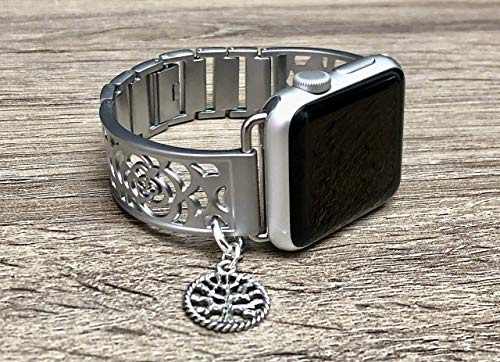 Silver Brushed Aluminum Metal Bracelet For Apple Watch 38mm All Series 40mm Series 4 Handmade Flowers Design Jewelry Apple Watch Band Vintage Tree Of Life Charm Adjustable Size Fashion Bracelet