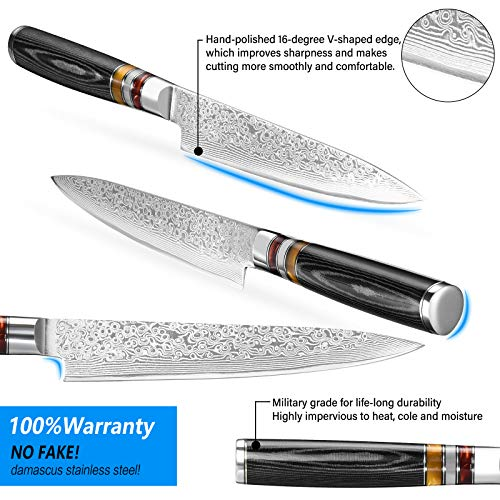 Utility Chef Knife 6 Inch Chef knife Japanese Damascus Utility Kitchen Knife Japanese Paring Knife Damascus Steel High Carbon 67-Layer Ultra Sharp Kitchen Meat Cutting Gyuto Chef Knife [Gift Box]