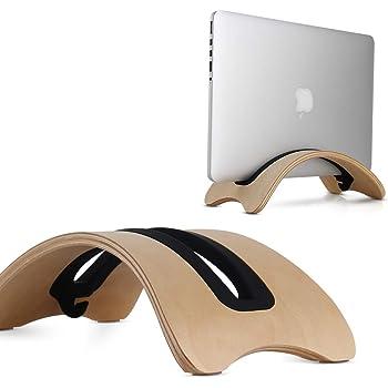 ノート パソコン スタンド PC 縦置き 収納 冷却 MacBook Air/Pro 専用 天然木 スタンド ウッド (クリーム色)