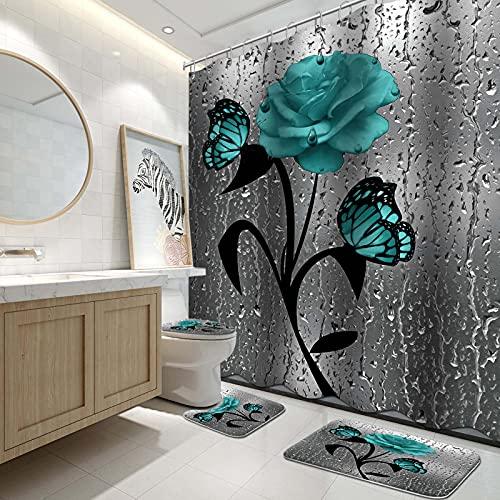 Lnond Duschvorhang-Set mit Teppich & WC-Deckelbezug & Badematte für Badezimmer, blaue Rose, wasserdicht, langlebig, Badezimmer-Dekor-Set mit 12 Haken, Blaugrün