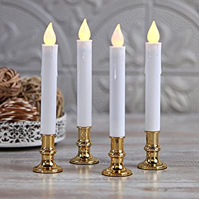 Set of 4 Christmas Window Candles with Holders