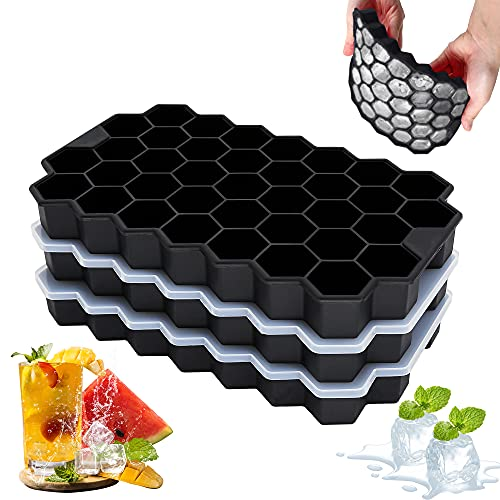 3 cubiteras de silicona con tapa sin BPA, 37 compartimentos para cubitos de hielo, bandeja grande para cerveza, cócteles, whisky, cubitos de hielo de fruta, color negro