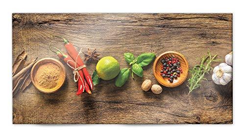 Glasvision | Küchenrückwand aus Glas | Spritzschutz | Memoboard | Herdabdeckplatte (80 x 40 cm, Wooden Spice)