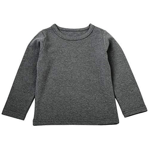 MRULIC Baby Langarmshirt Mädchen Jungen Langarm Crops Tops Viola Slim Basic Top Noos(Grau,Höhe:90-100CM)