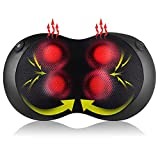 Back and Neck Massager, Massage Pillow with Heat, Portable Shiatsu 3D Kneading Massage Pillow for Shoulders, Calf, Legs, Feet, Body Muscle Pain Relief,Use at Home, Car, Office
