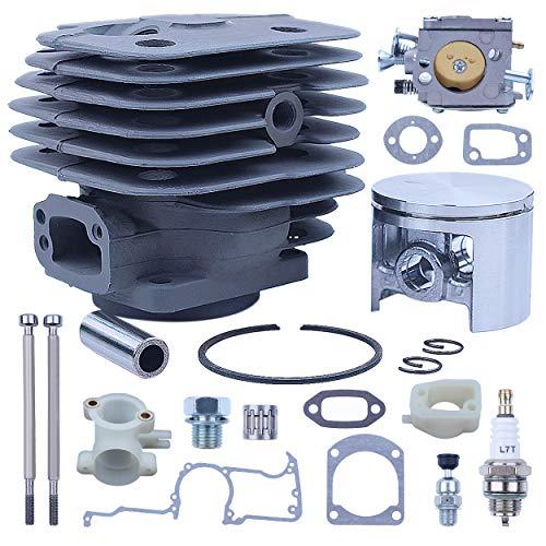 Mtanlo - Kit de reparación de carburador de pistón de cilindro grande de 52 mm para Husqvarna 266XP 266 266SE XP SE 61 piezas con válvula de descompresión