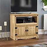 Vida Designs Corona TV Cabinet, Straight Unit, Stand With Shelf and Media Storage, Solid Pine Wood